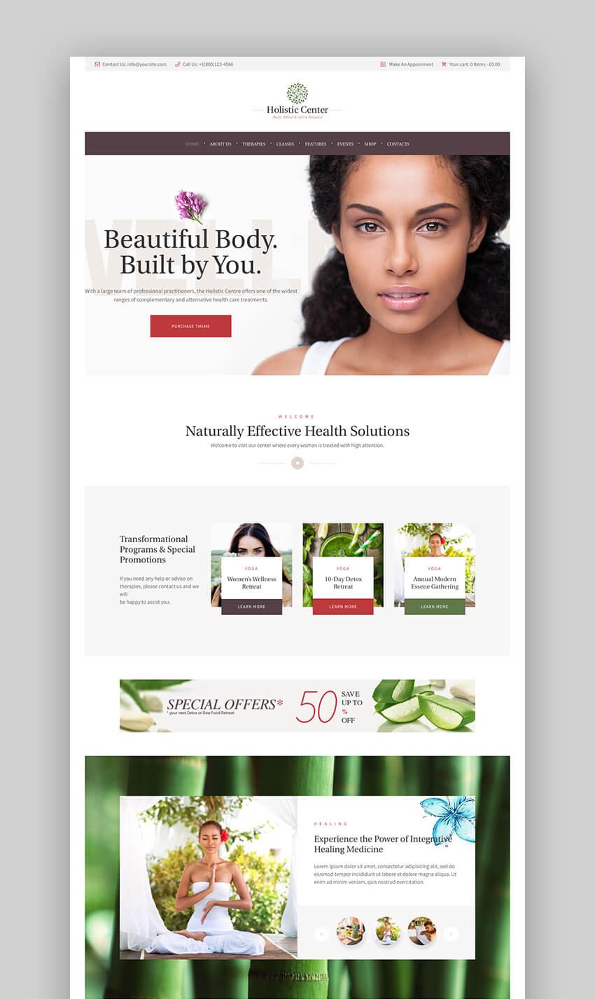 Holistic Center Clean WordPress Wellness and Spa Theme