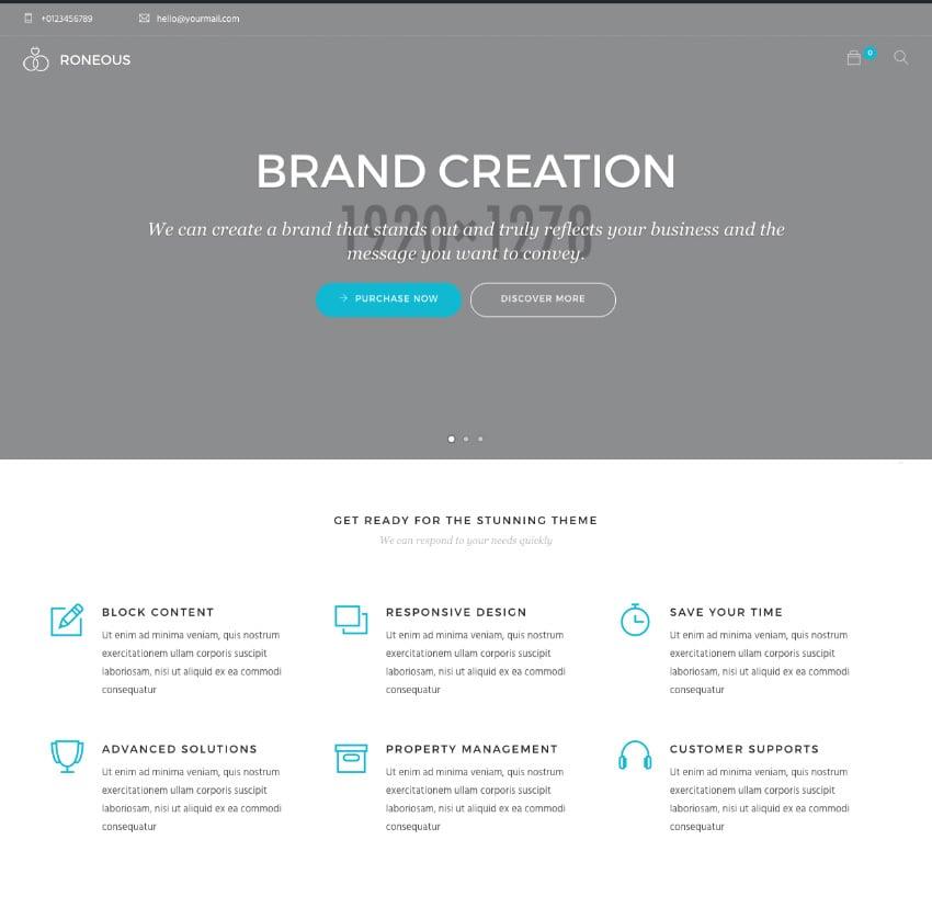 Modern WordPress website theme demo homepage