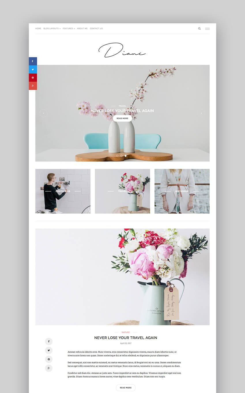 Diane - Clear and Attractive Basic WP Blog Theme