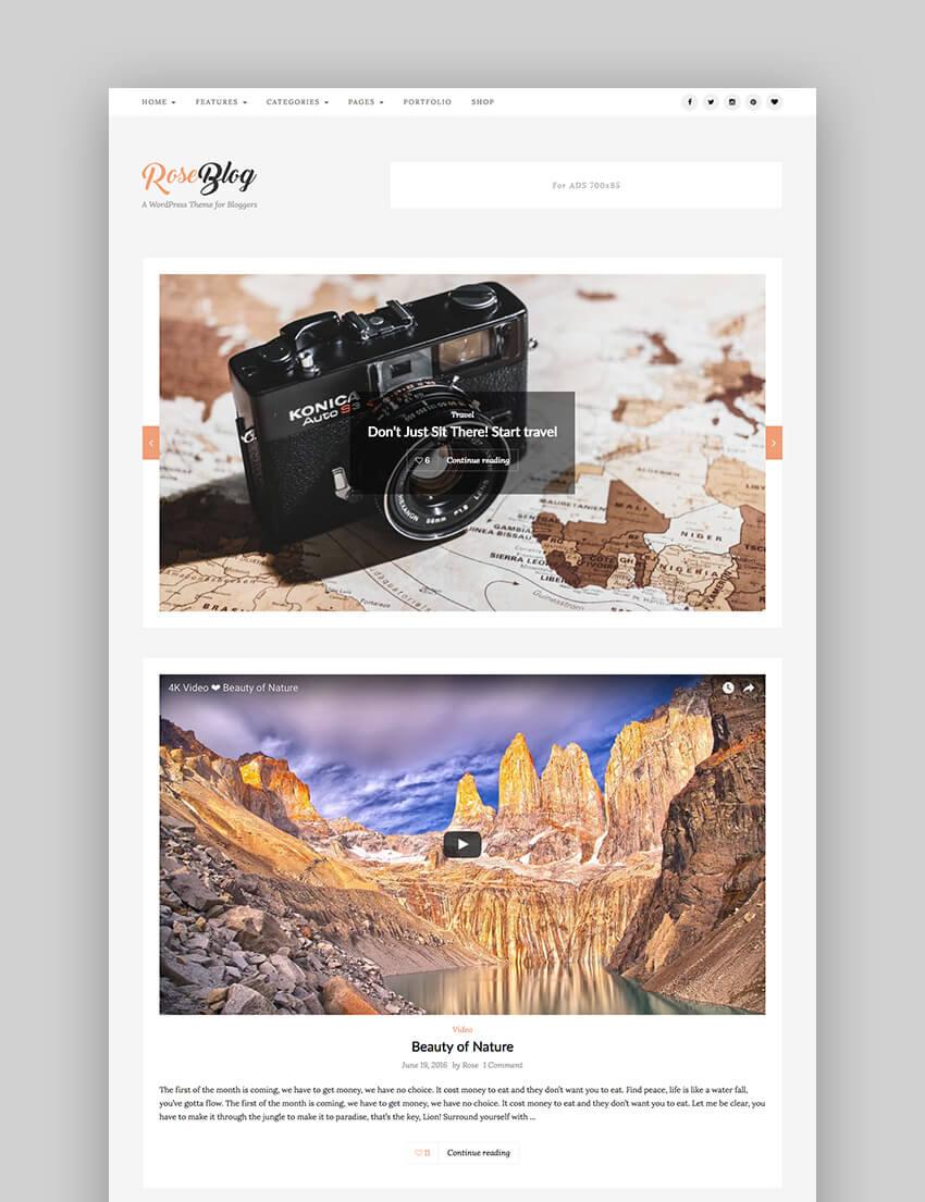 Rose - Elegant Easy-to-Use WordPress Blog Theme