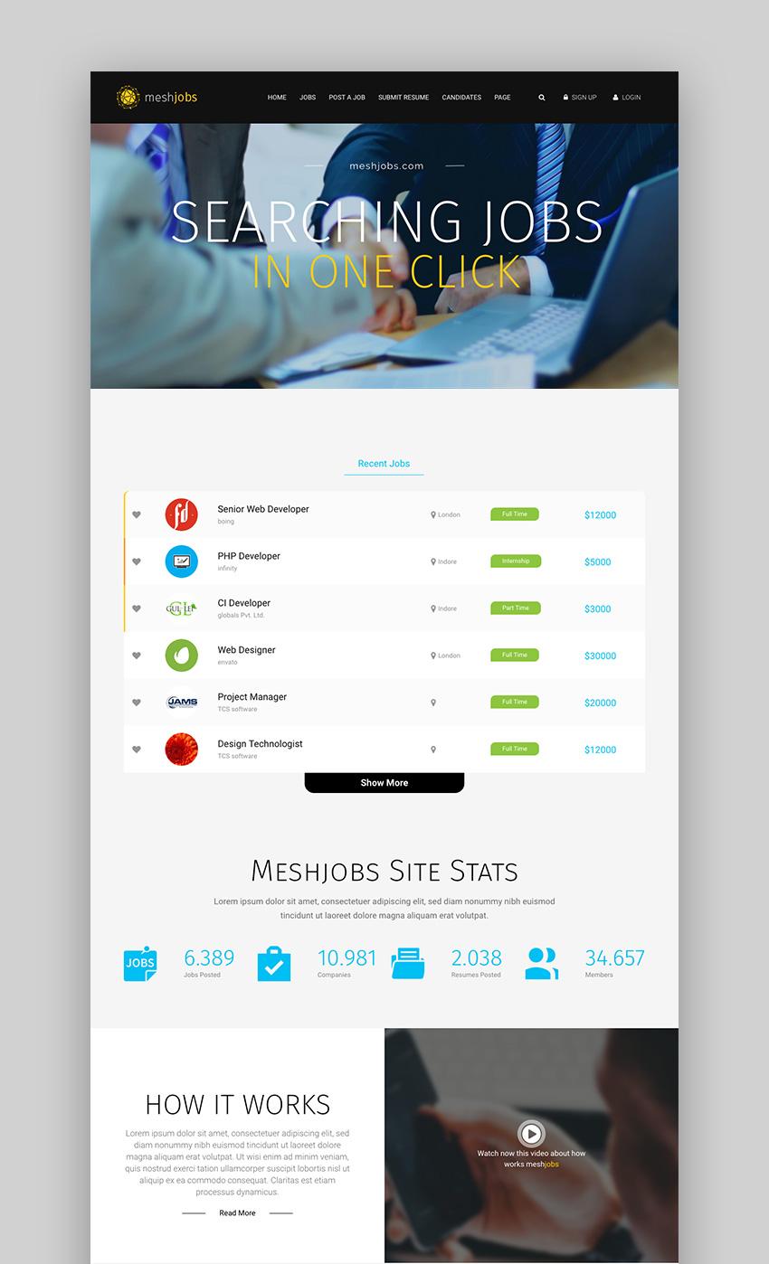 MeshJobs WordPress Job Portal WordPress Listing Theme