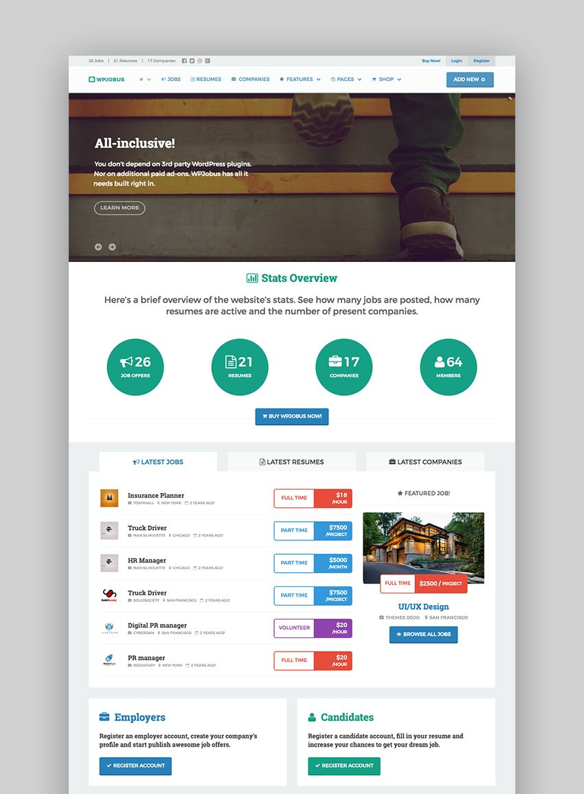 WPJobus multipurpose job board WordPress theme