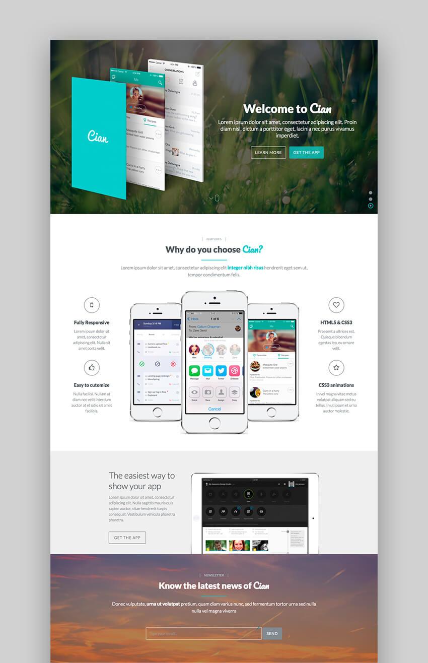 Cian Pro WordPress landing page app theme