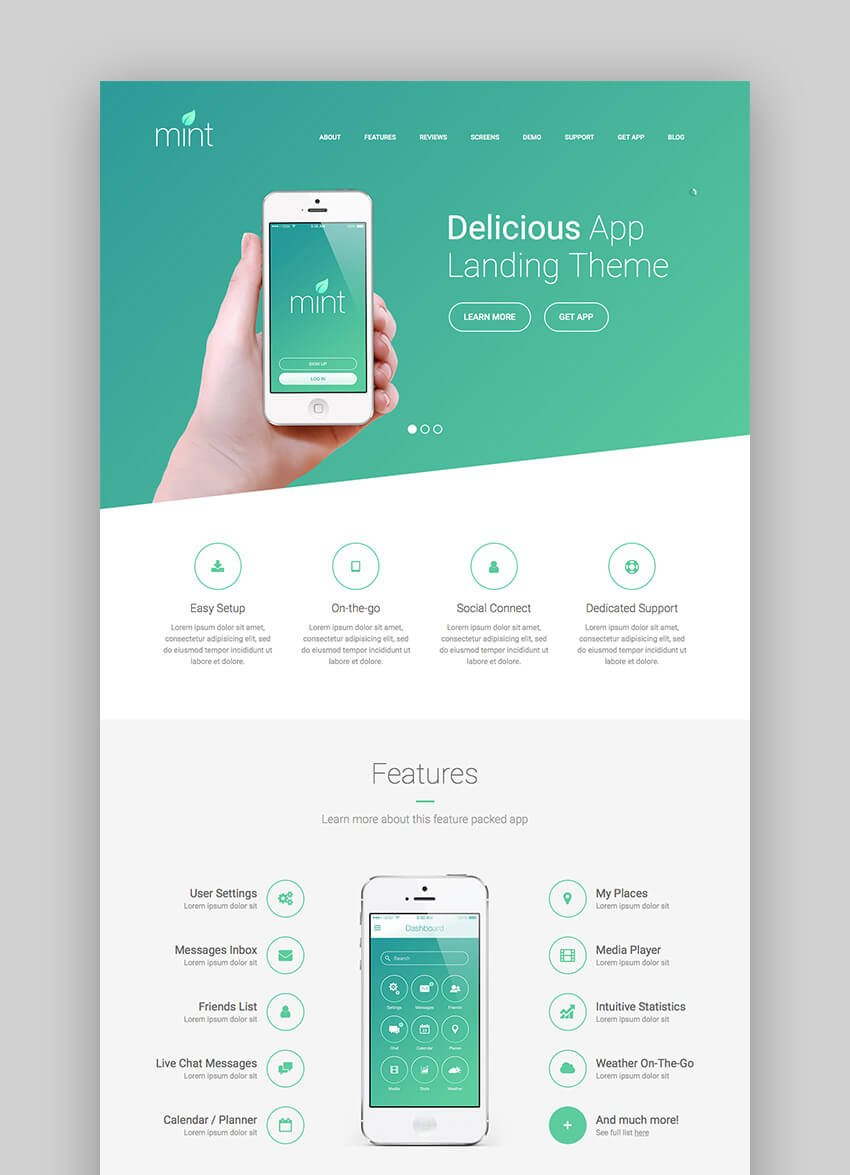 Delicious app and mobile software WordPress theme