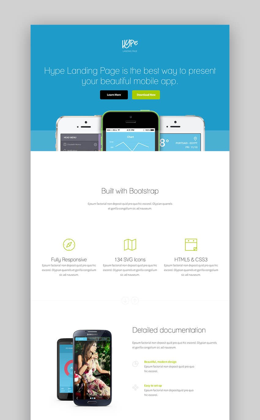 Hype landing page theme for wordpress