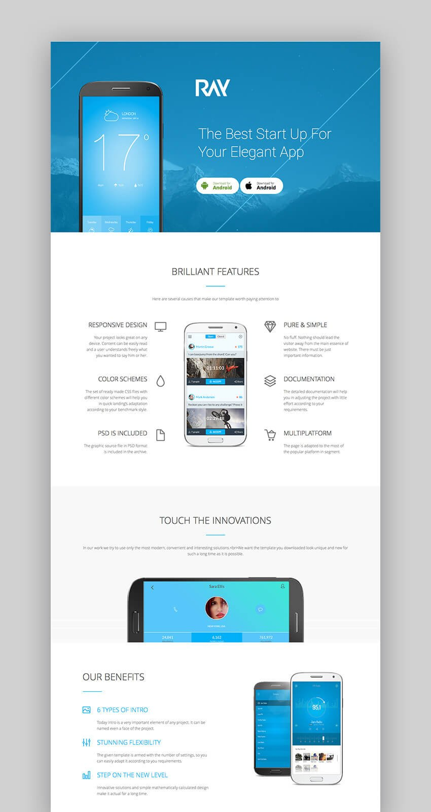 Ray responsive WordPress app theme