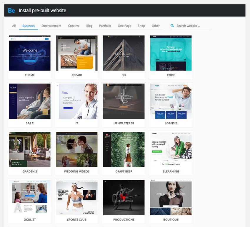 Pre-built WordPress Be theme websites
