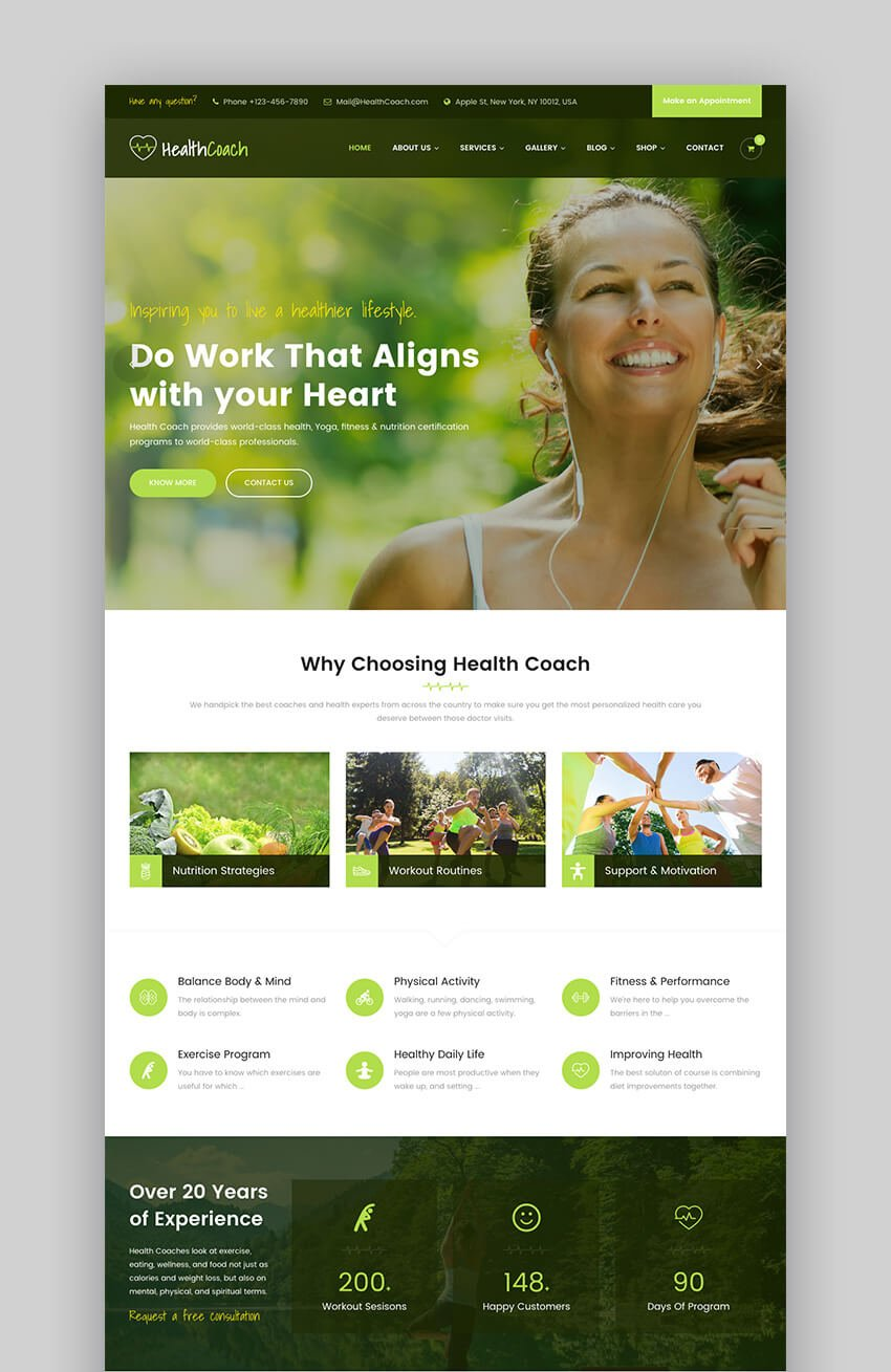 Health Coach consulting WordPress theme