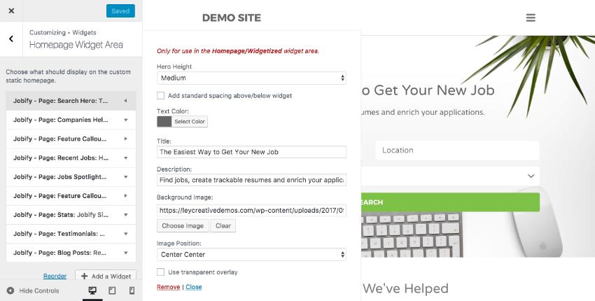 Customizing the job board homepage
