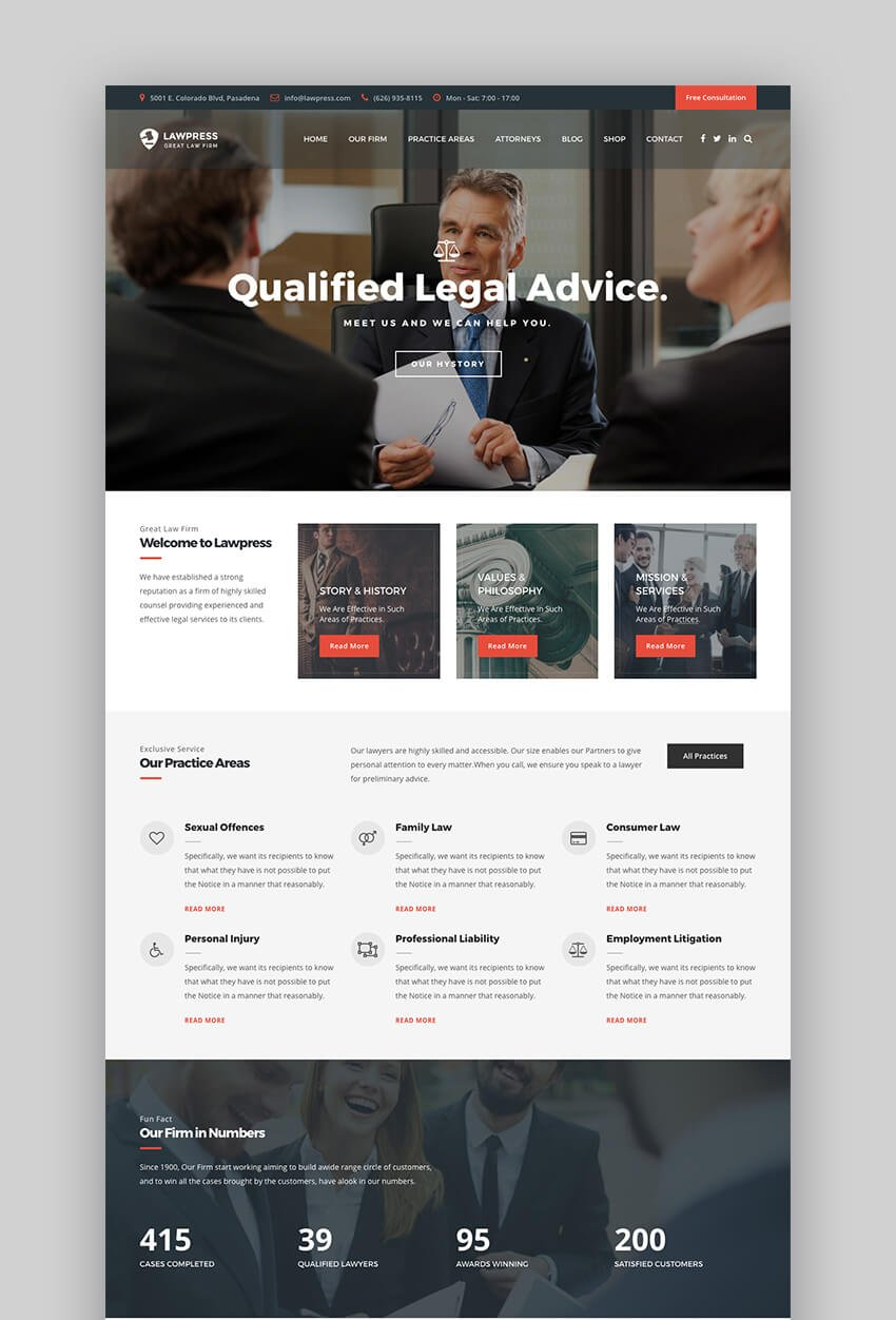 LawPress Attorney parallax WordPress theme