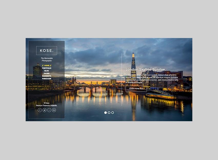 Kose Customizable Full-Screen Theme for WordPress