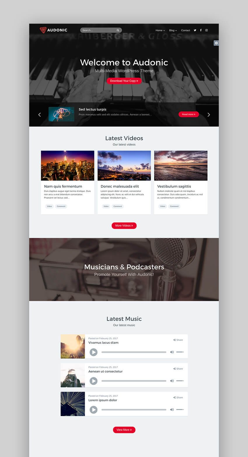 Audonic music and podcasting theme for WordPress
