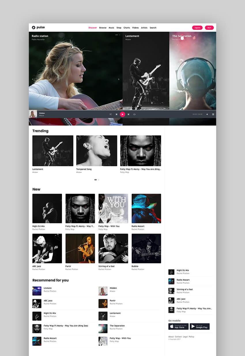 Pulse responsive music theme for WordPress websites