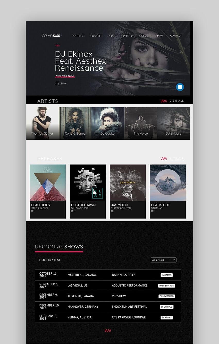 SoundRise music WordPress theme