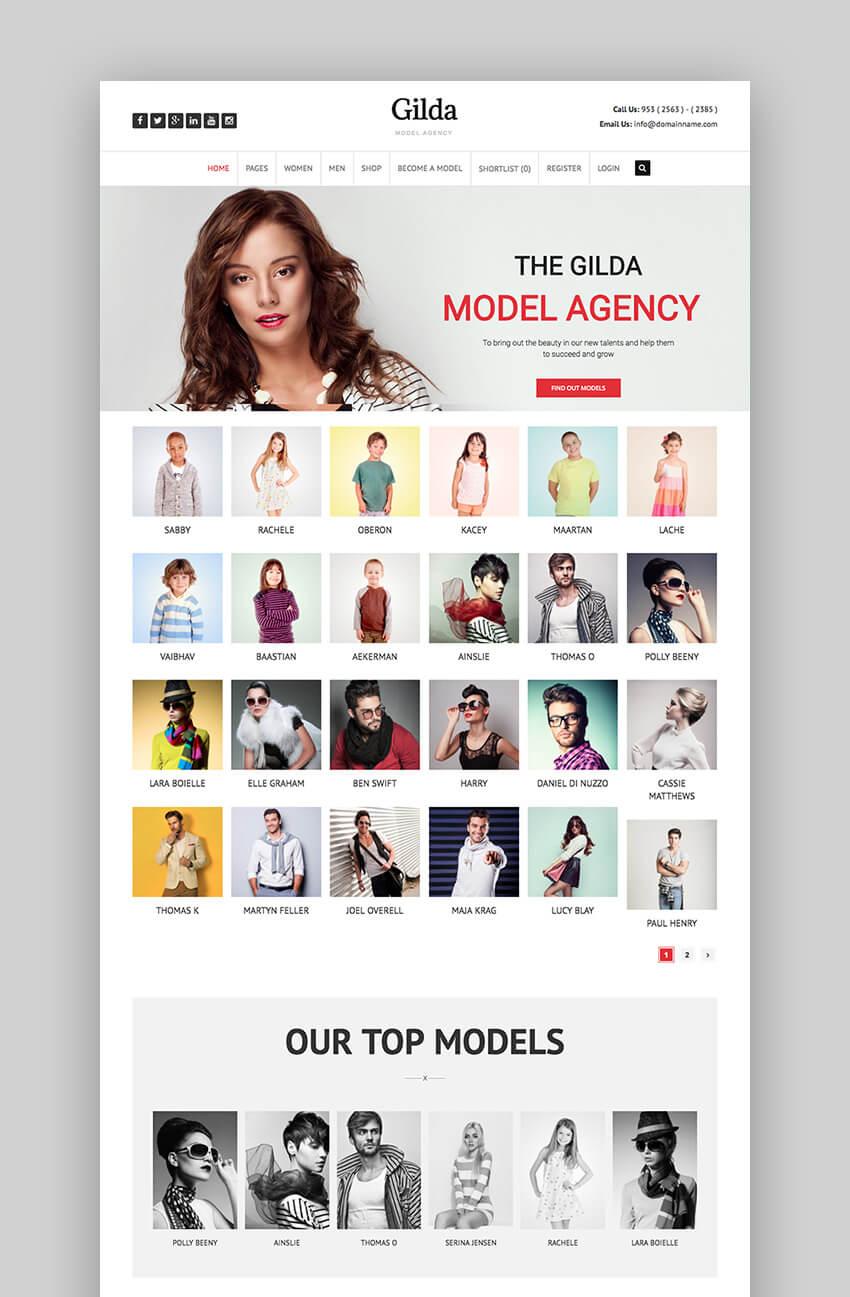 Gilda fashion agency theme for WordPress