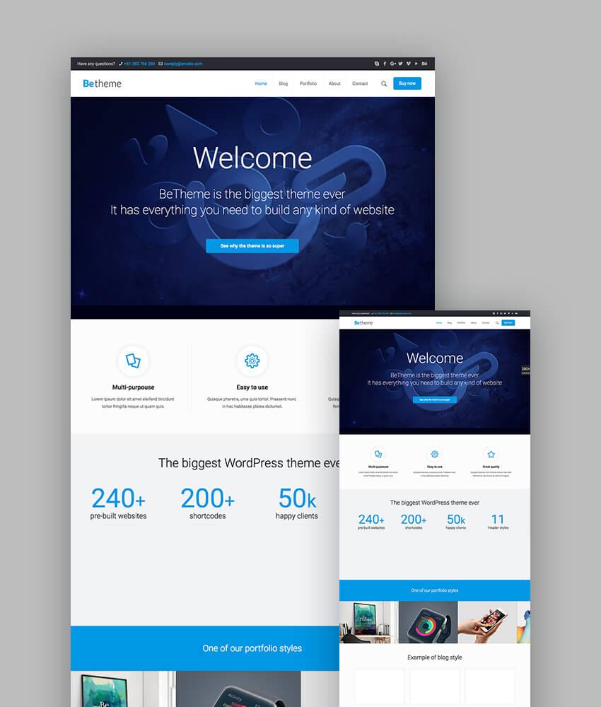 BeTheme responsive WP templates design