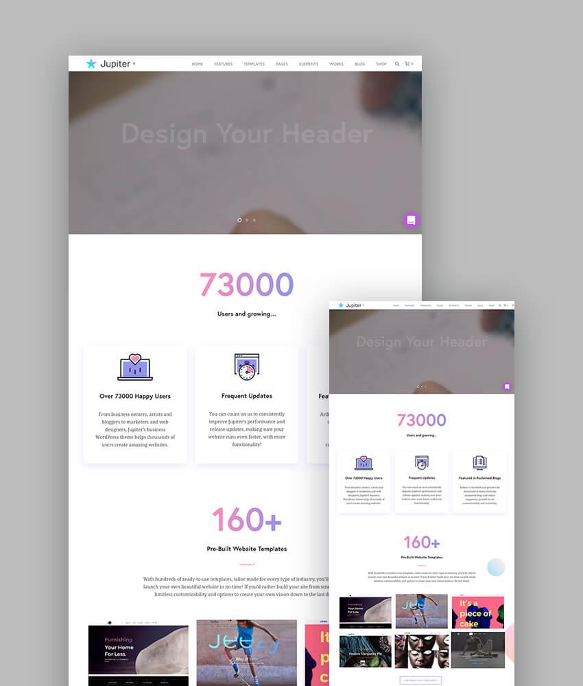Jupiter responsive theme for WordPress