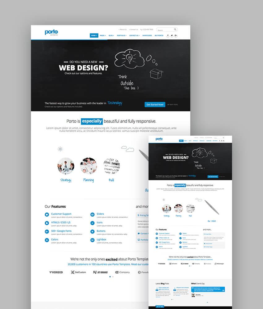 Porto responsive eCommerce theme for latest WordPress websites