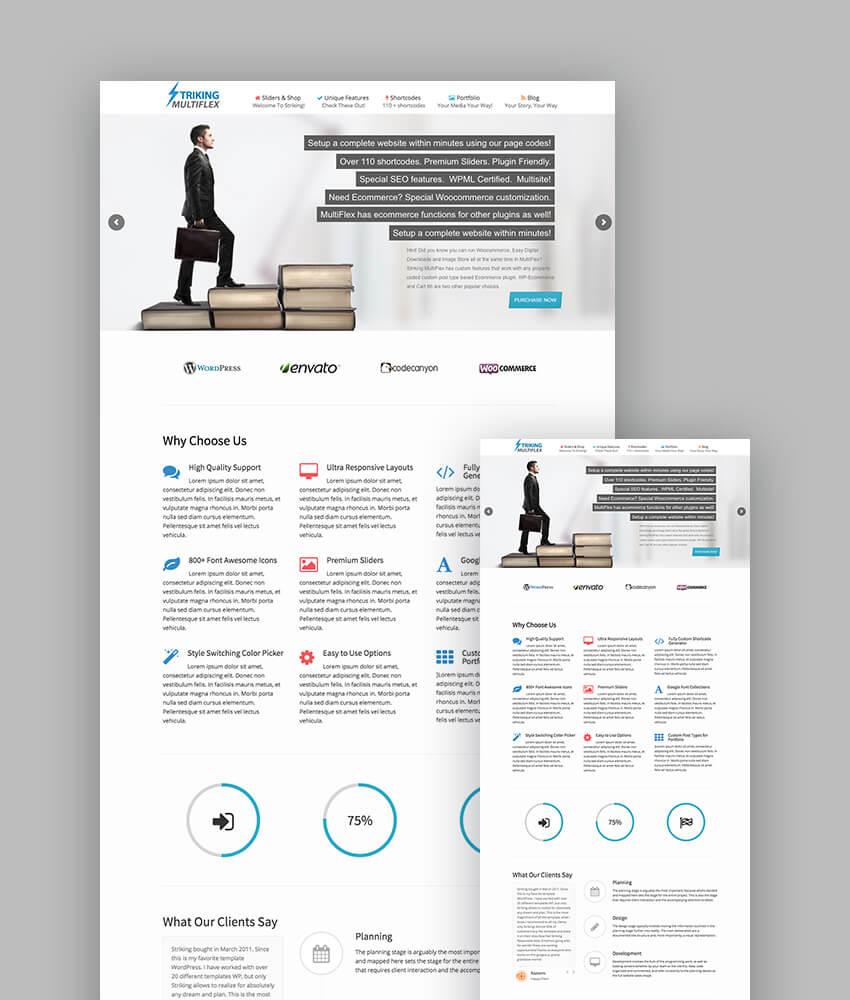 Striking - Diseño de tema responsive de WordPress rico en últimas características