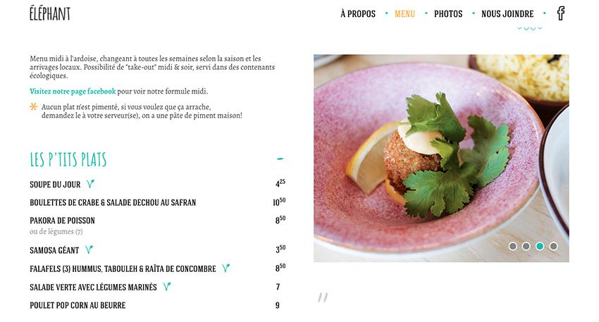Elephant restaurant website