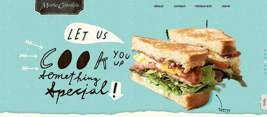 Marie Catribs restaurant website