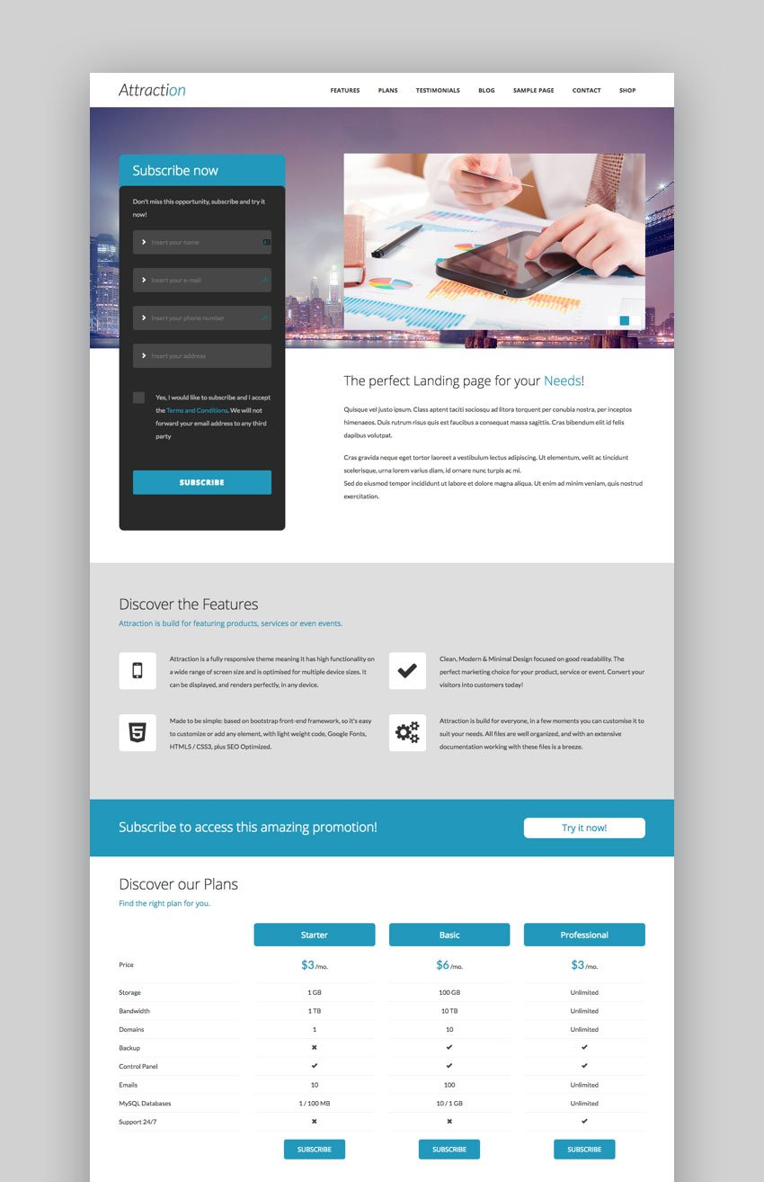 Attraction One page WordPress theme