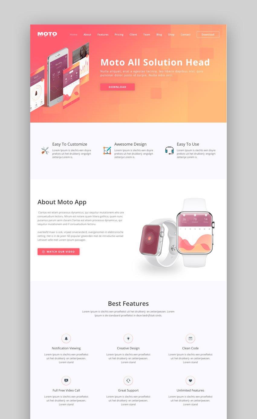 Moto landing page Multipurpose theme