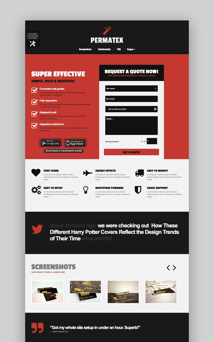 Permatex WordPress landing page theme