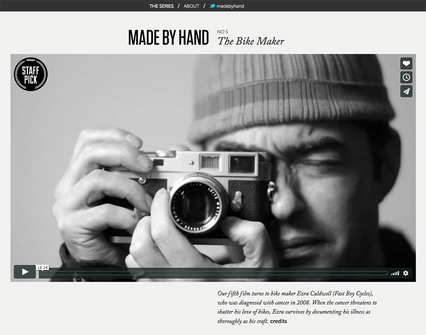 Made By Hand Responsive Website Example