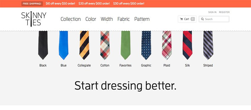 Skinny Ties Responsive Design Example