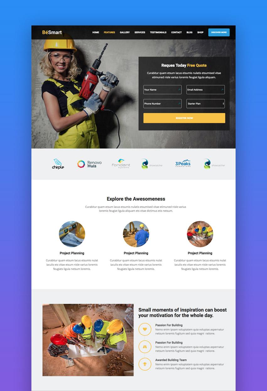 BeSmart WordPress construction theme