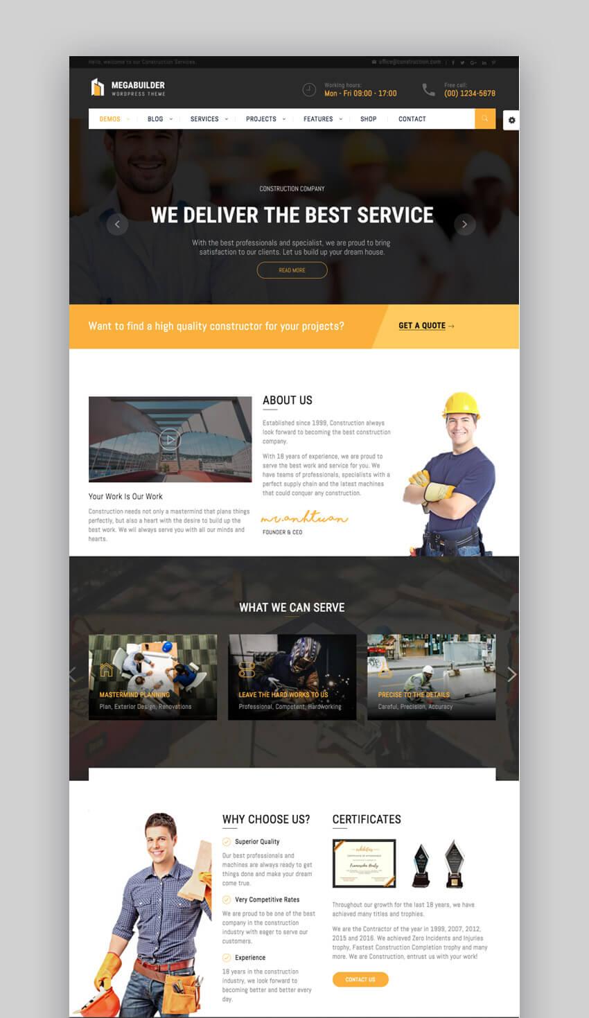 MegaBuilder construction WordPress theme