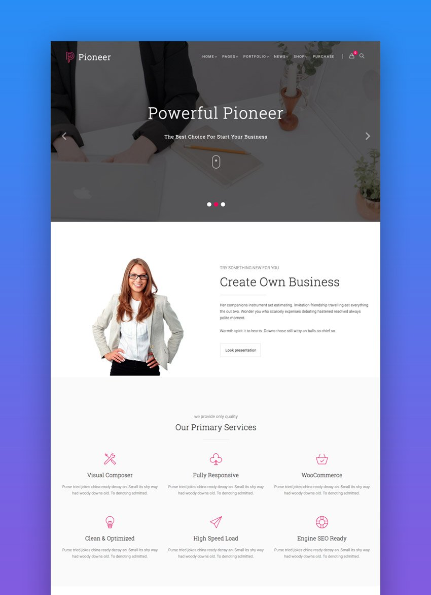 Pioneer minimal construction WordPress theme