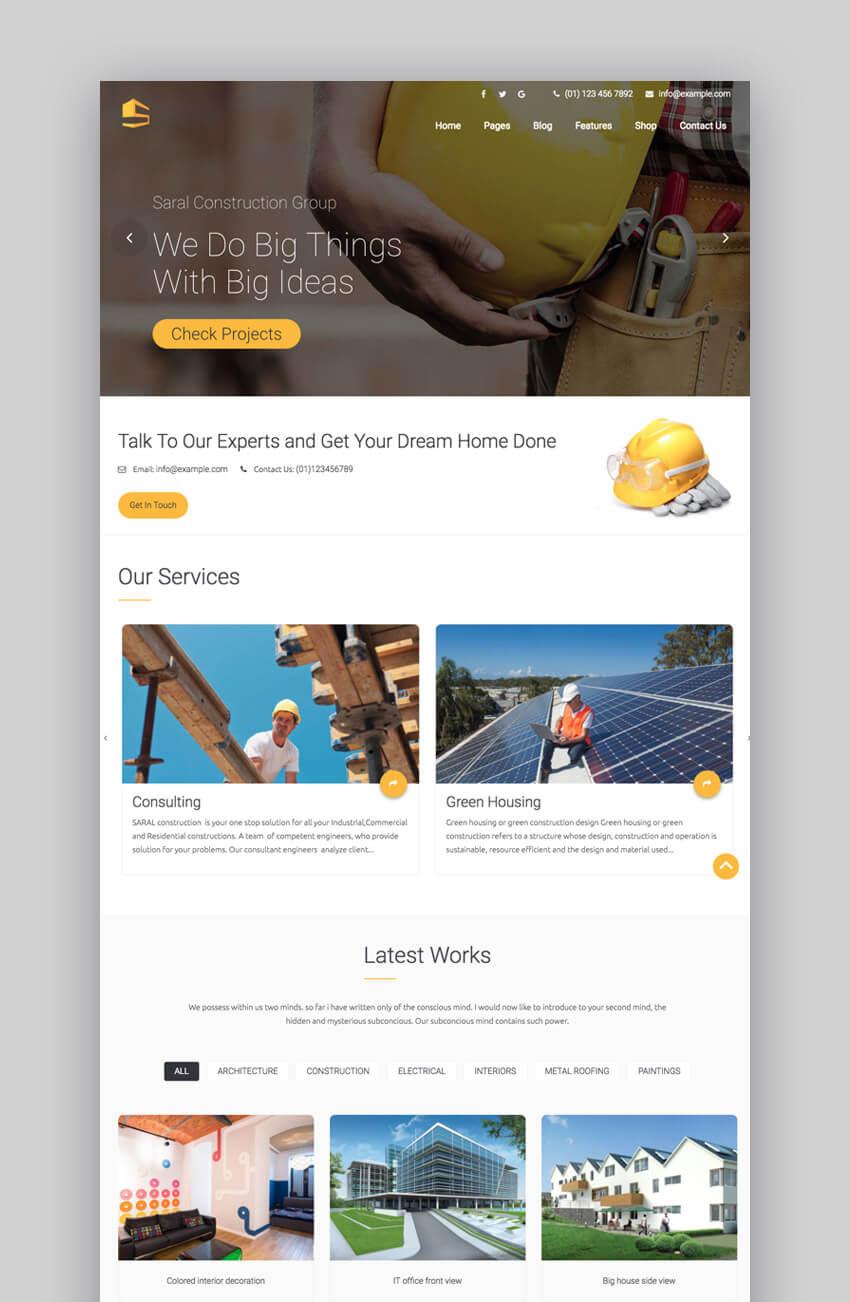 Saral Theme WordPress construction theme