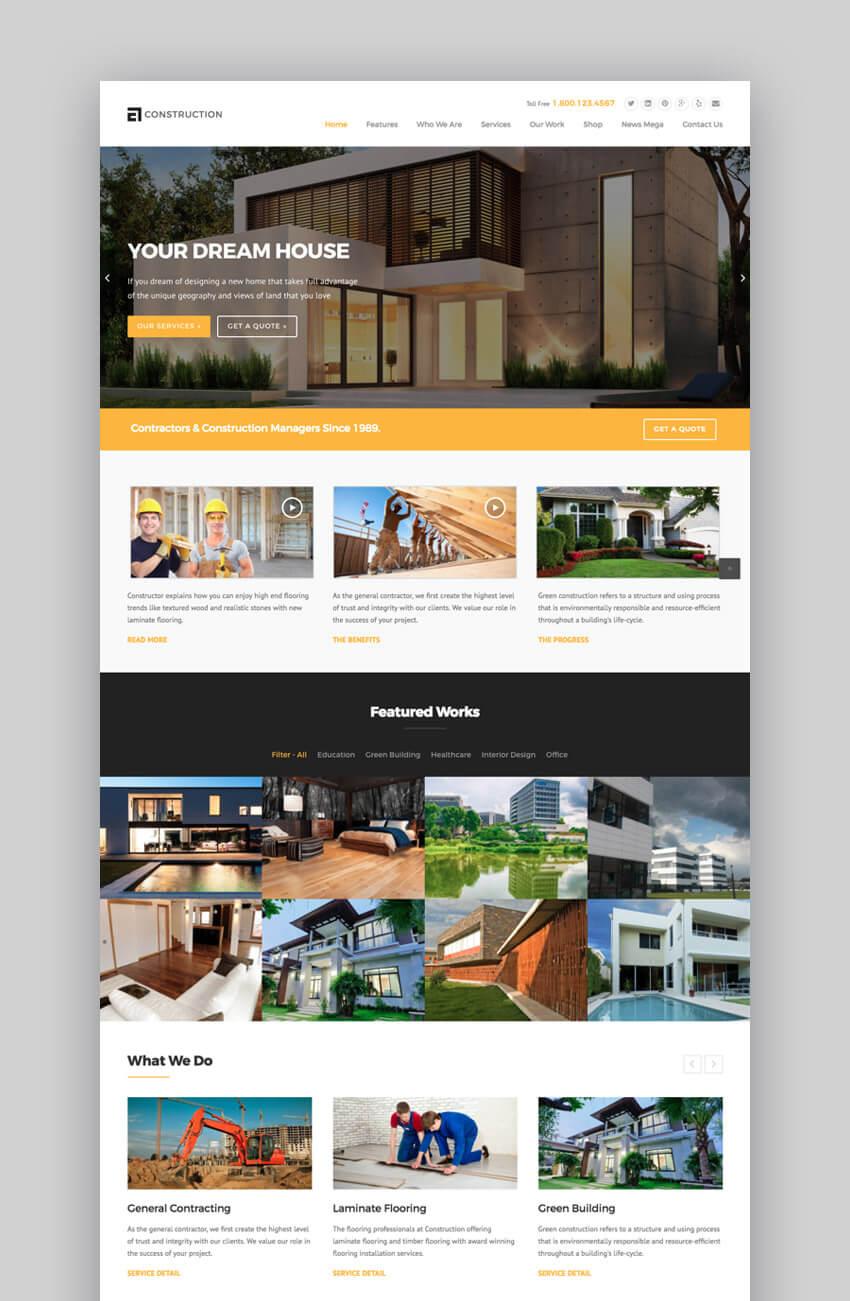 WP Construction modern theme