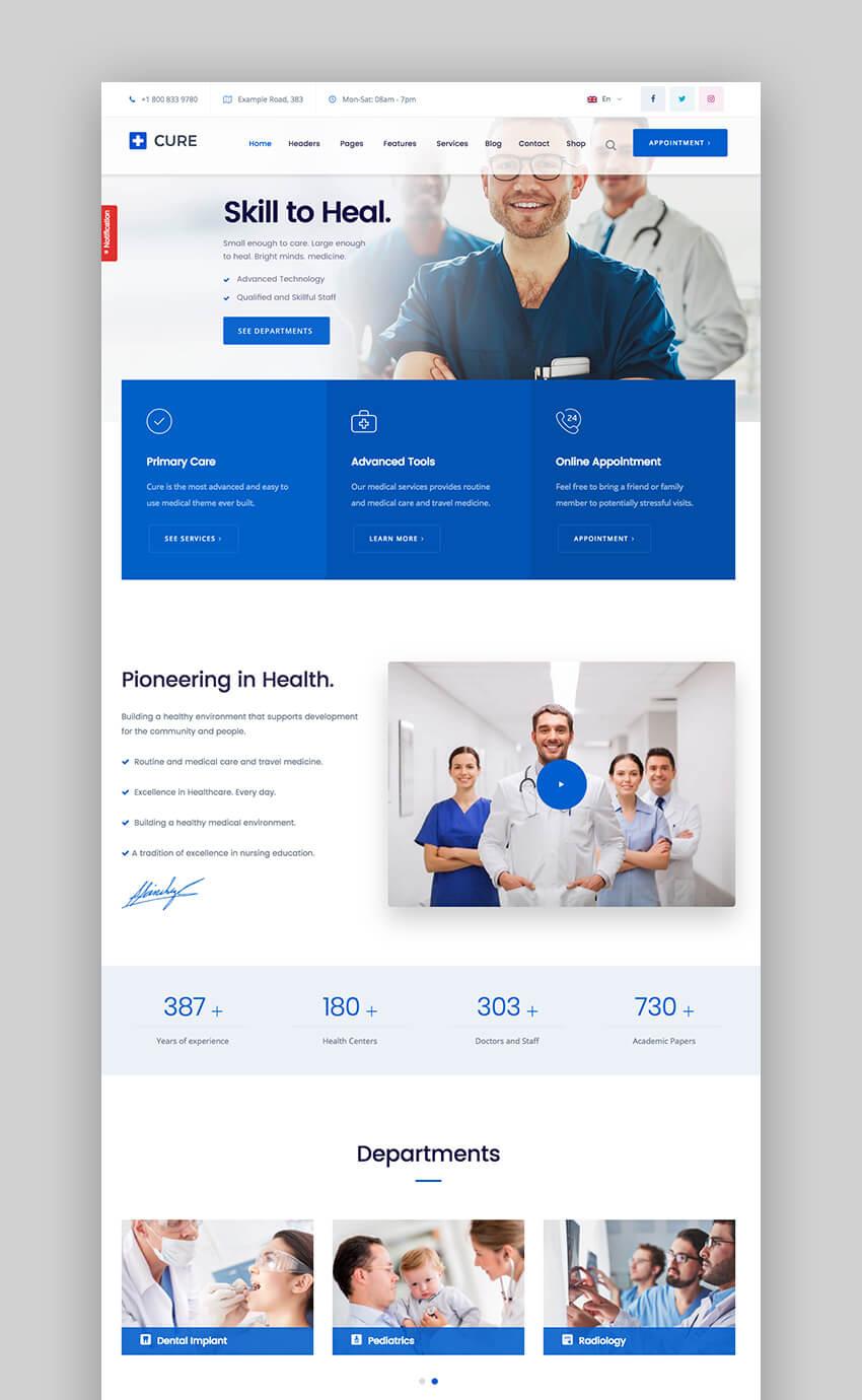 Medical Cure health WordPress theme