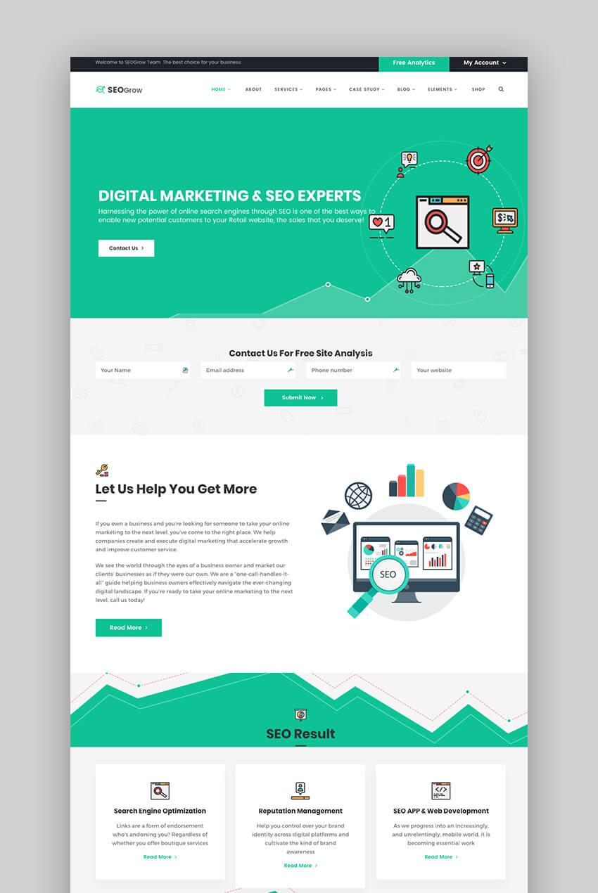 SEO Grow Marketing multipurpose WordPress theme