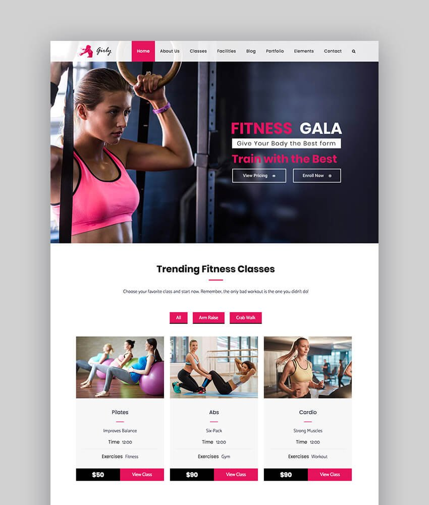 Girly gym and fitness WordPress theme