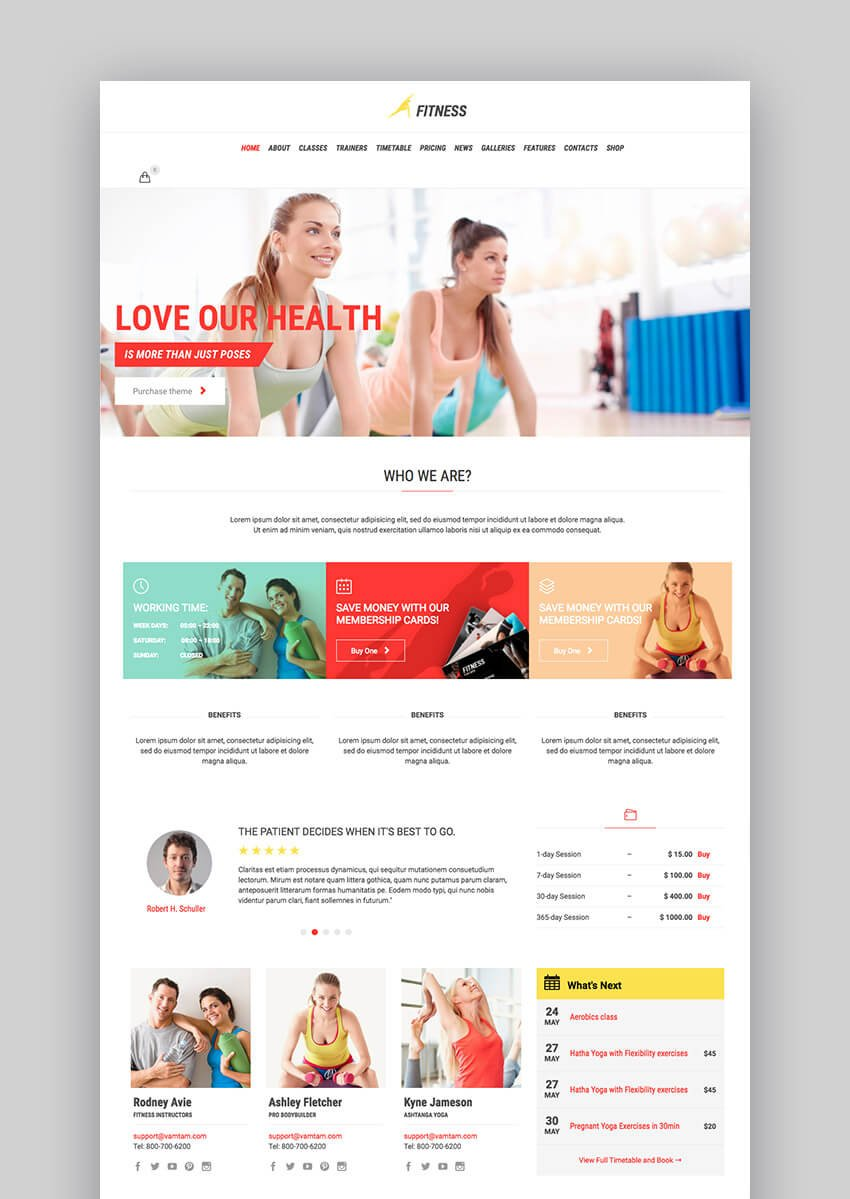 Gym Fit WordPress theme for fitness websites