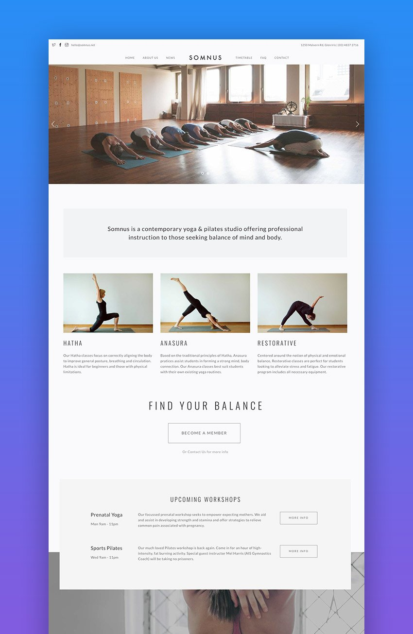 Somnus clean fitness WordPress theme