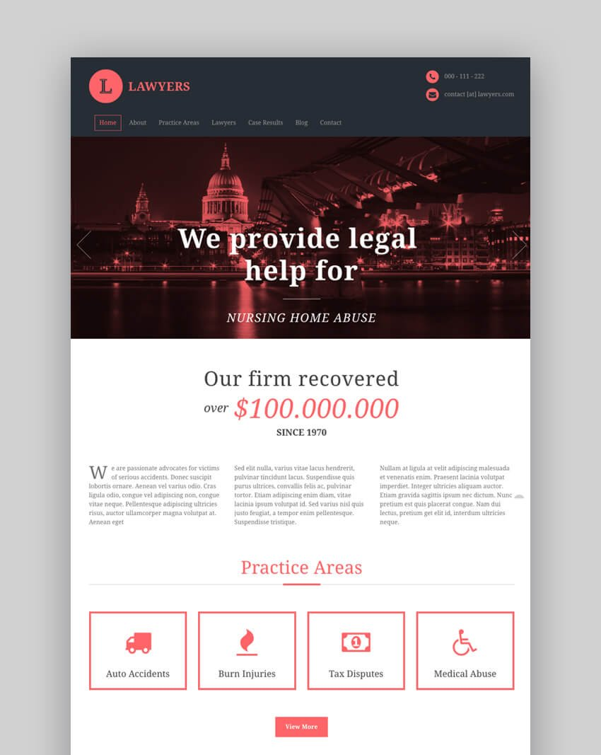 Lawyer mobile-friendly website template