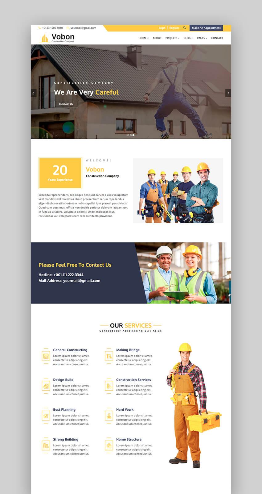 Vobon business and construction Drupal theme