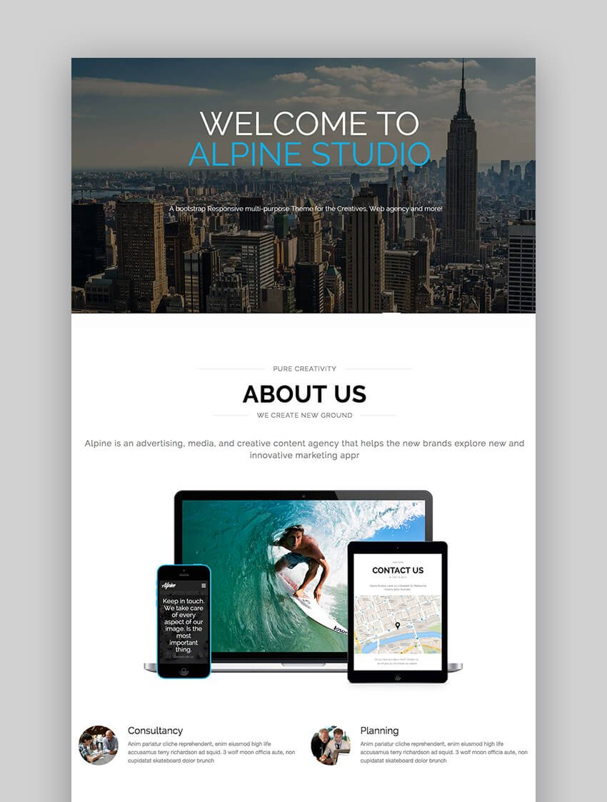 Alpine responsive Bootstrap Drupal theme