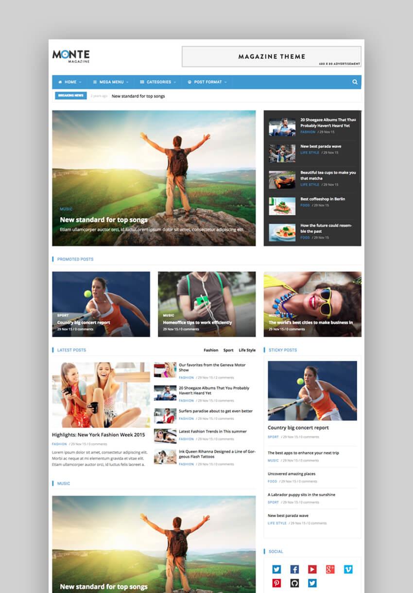 Monte - Tema Responsivo para Noticias Drupal 8 Bootstrap Theme
