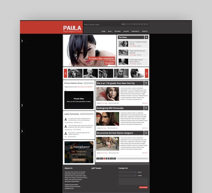 Paula Joomla personal blog template