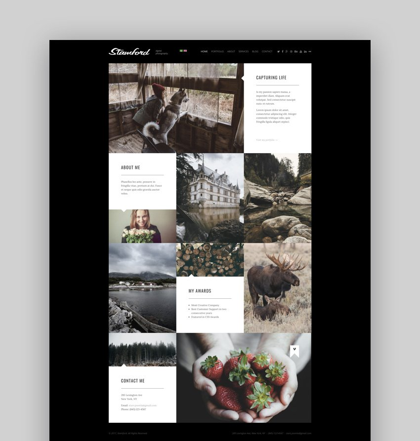 Stamford photography blog template for Joomla