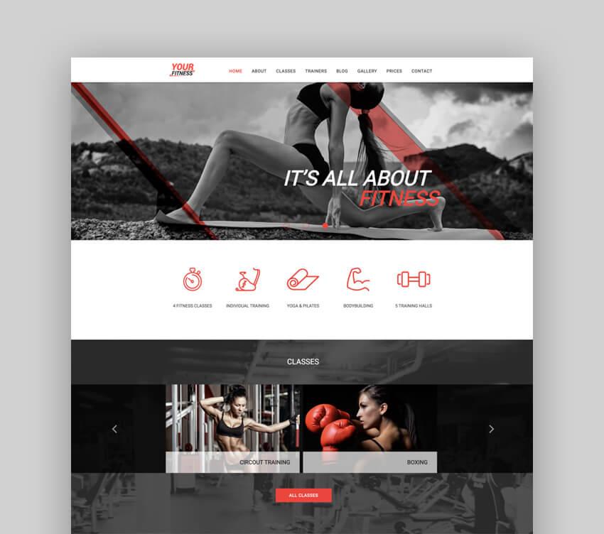 YourFitness sports personal Joomla blog template