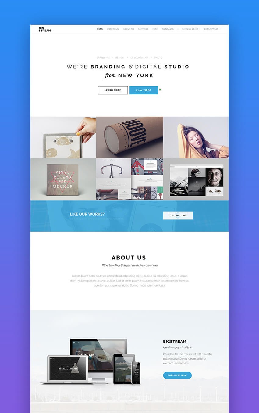BigStream one page landing page design