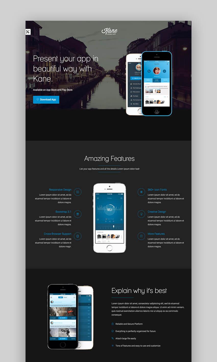 Kane landing page design for app promotion