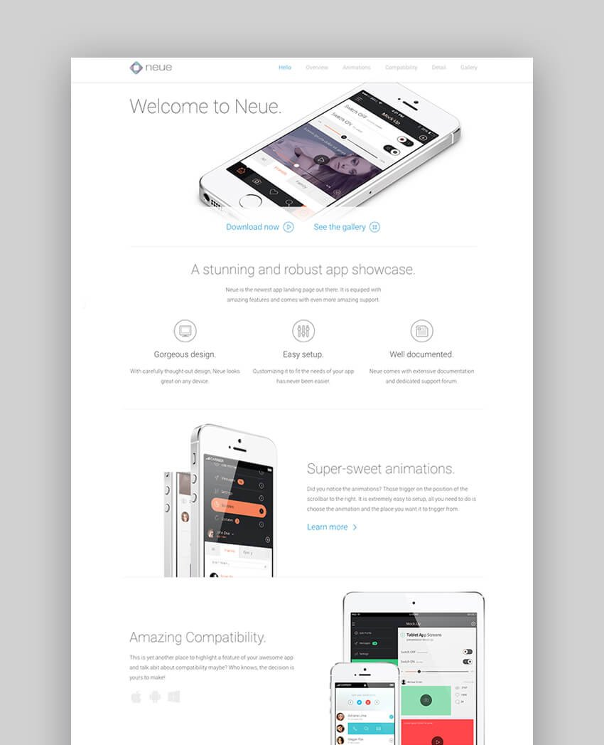 Neue simple landing page template